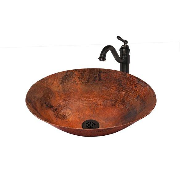 Novatto Bilboa Round Vessel Sink - 14-in - Copper/Oil Rubbed Bronze