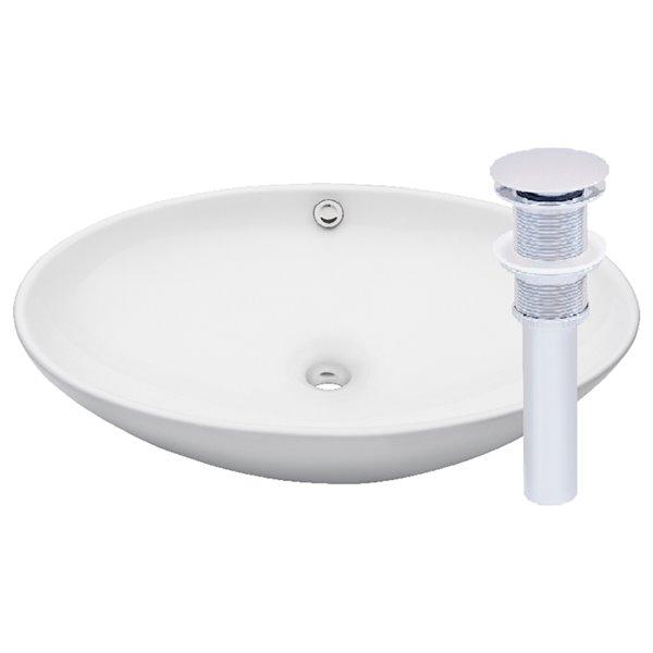Novatto Bianco Uovo Oval Vessel Sink - 24.75-in - White/Chrome