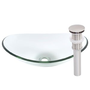 Novatto Chiaro Oval Vessel Sink - 15-in - Clear Glass/Brushed Nickel