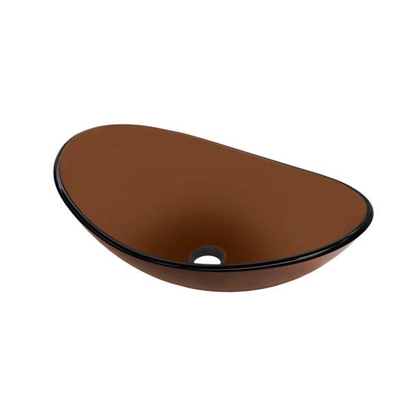Novatto Babbuccia Oval Vessel Sink - 15-in - Brown Glass/Oil Rubbed Bronze
