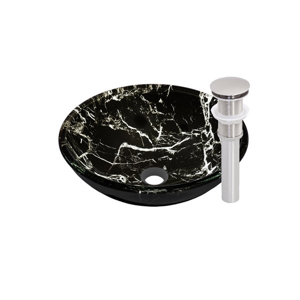 Novatto Pallina Round Vessel Sink - 16.5-in - Black Marbled Glass/Brushed Nickel