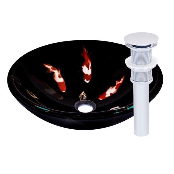 Novatto Fiche Round Vessel Sink - 16.5-in - Black Glass/Chrome Drain