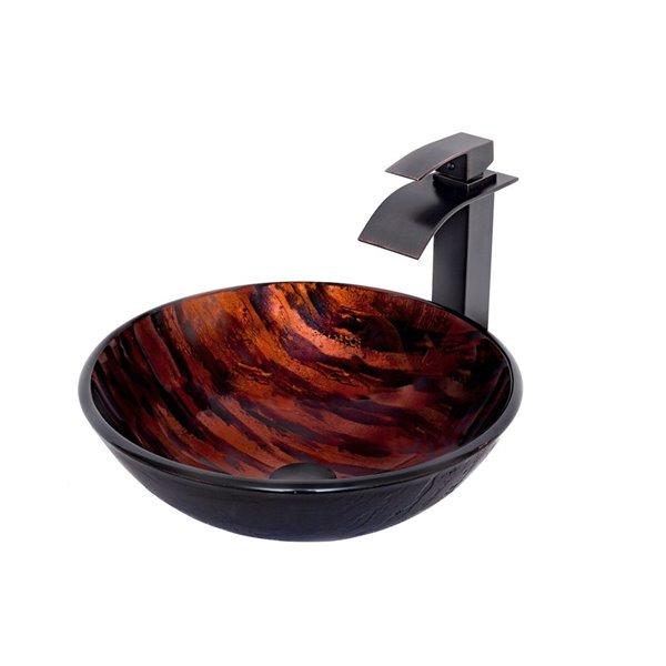 Novatto Mimetica Round Vessel Sink - 16.5-in - Orange Glass/Oil Rubbed Bronze