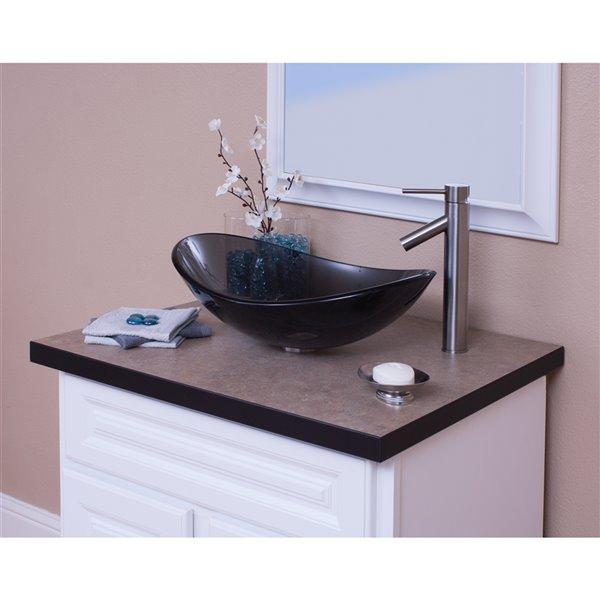 Novatto Best Value Oval Vessel Sink - 15-in - Grey Glass