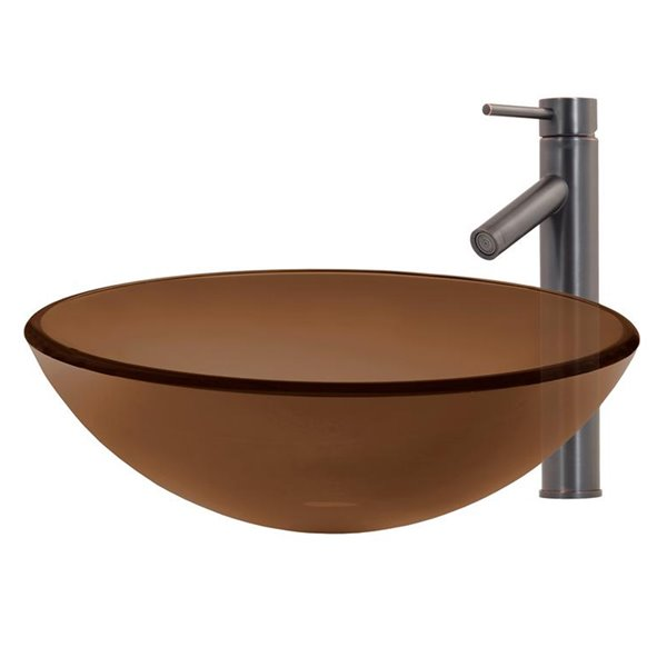 Novatto Best Value Round Vessel Sink - 16-in - Brown Glass/Oil Rubbed Bronze Drain