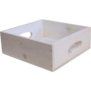 Caisse de rangement en bois blanchi McNeil de Manubois, 3.75 po x 10.5 po x 10.25 po