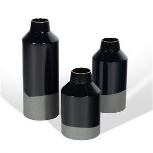 Gild Design House Jalen  Decorative Metal Table Vase - Black - Set of 3