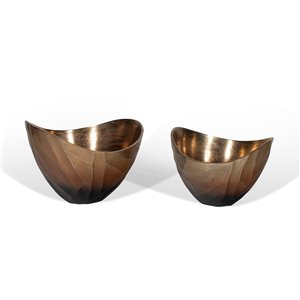 Gild Design House Arlette Decorative Metal Bowls - Bronze - 7-in - Set of 2