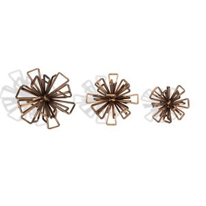 Gild Design House Rossetta Metal Decorative Flower Accessory - Bronze - Set of 3