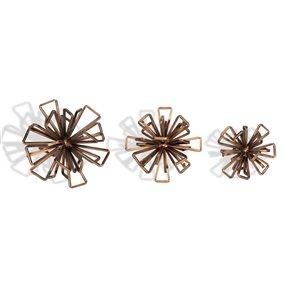 Accessoire décoratif style fleur de métal Rossetta Gild Design House, bronze, ens. de 3