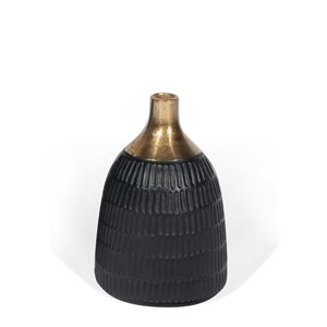 Gild Design House Mavis Small Decorative Metal Vase - Black - 9-in