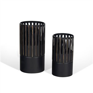 Gild Design House Sadira Decorative Metal Table Vase - Black - Set of 2