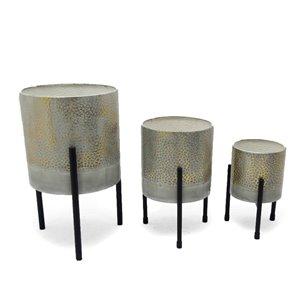 Jardinières de table en métal Ambre Gild Design House, ens. de 3