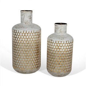Gild Design House Marilla Decorative Metal Table Vase - White - Set of 2