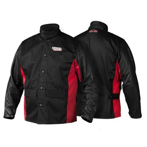 Red Line Shadow Grain Leather-Sleeved Welding Jacket - Medium - Black