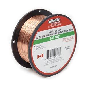 Fil S-6 MIG pour soudage Lincoln Electric, 0,025 po, 2 lb
