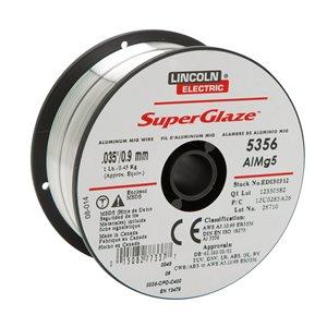 Fil MIG pour soudage Lincoln Electric, aluminium SuperGlaze, 0,035 po, 1 lb