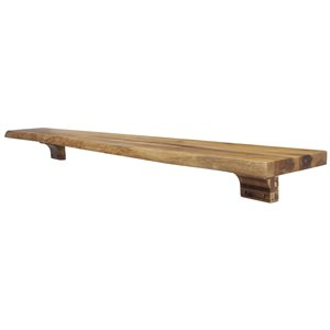 Elements Live Edge Acacia Mantel Shelf with Wooden Corbels - 60-in