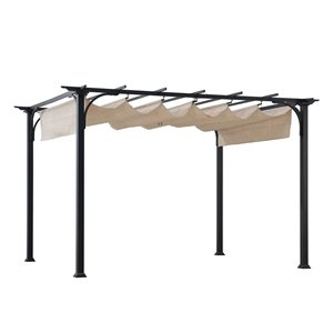 Sunjoy Semi-permanent Steel Gazebo - Rectangle - Polyester Top - 10.6-ft x 8.6-ft - Beige