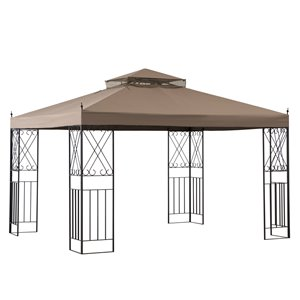 Sunjoy Kelly Semi-permanent Steel Gazebo - Rectangle - Polyester Top - 10-ft x 12-ft - Khaki