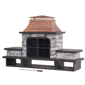 Sunjoy Belaire Outdoor Wood Burning Fireplace - 24.02-in - Copper