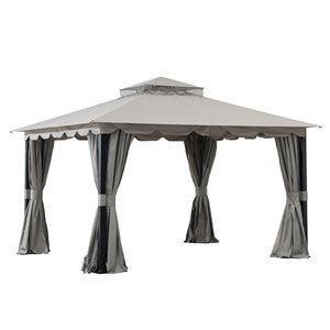 Sunjoy Semi-permanent Steel Gazebo - Rectangle - Polyester Top - 10-ft x 12-ft - Grey