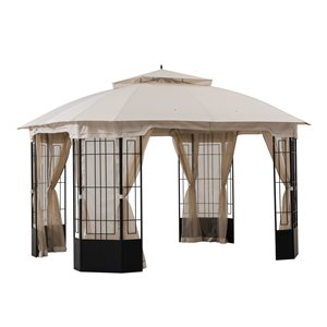 Sunjoy Semi-permanent Steel Gazebo - Octagon - Polyester Top - 9.8-ft x 11.8-ft - Beige