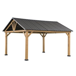 Sunjoy Permanent Cedar Gazebo - Rectangle - Steel Top - 10.1-ft x 12-ft - Brown/Black