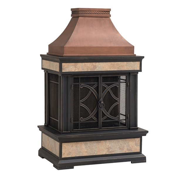 Sunjoy Belaire Outdoor Wood Burning Fireplace - 23.62-in - Copper and Gold