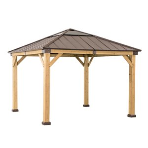 Sunjoy Permanent Cedar Gazebo - Square - Polycarbonate Top - 11.08-ft x 11.08-ft - Brown