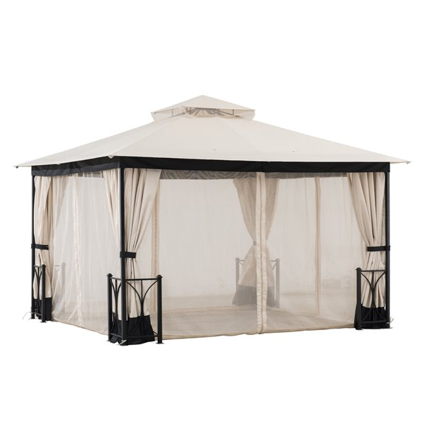 Sunjoy Semi-permanent Steel Gazebo - Rectangle - Polyester Top - 10-ft x 12-ft - Beige