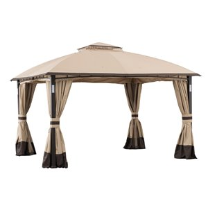 Sunjoy Semi-permanent Steel Gazebo - Rectangle - Polyester Top - 10-ft x 12-ft - Tan