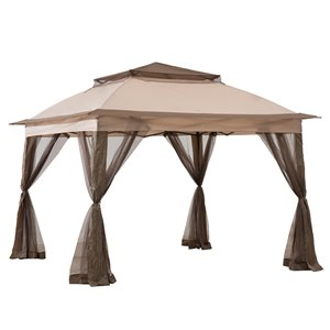 Sunjoy Pop-Up Steel Gazebo - Square - Polyester Top - 10.8-ft x 10.8-ft - Tan