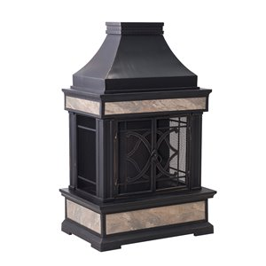 Sunjoy Smith Outdoor Wood Burning Fireplace - 23.62-in - Black and Gold