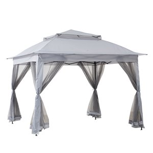 Sunjoy Pop-Up Steel Gazebo - Square - Polyester Top - 10.8-ft x 10.8-ft - Grey