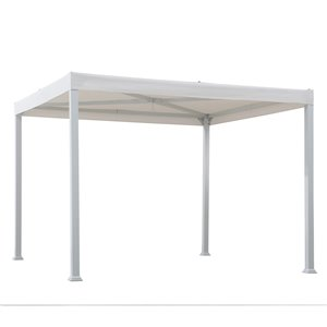 Sunjoy Semi-permanent Steel Gazebo - Square - Polyester Top - 10-ft x 10-ft - White