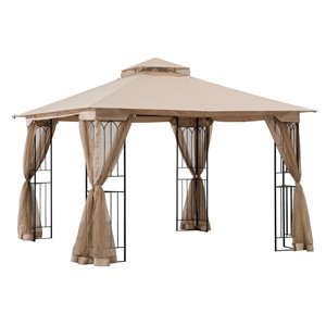 Sunjoy Semi-permanent Steel Gazebo - Square - Polyester Top - 10-ft x 10-ft - Brown
