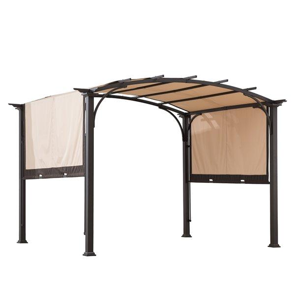 Sunjoy Semi-permanent Steel Gazebo - Rectangle - Steel Top - 8-ft x 10-ft - Beige