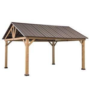 Sunjoy Permanent Cedar Gazebo - Rectangle - Steel Top - 12-ft x 13.9-ft - Brown