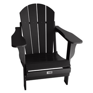 My Custom Sports Chair Adult Folding Adirondack Chair - Black