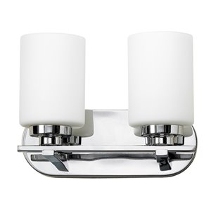 Russell Lighting Vanity 2-Light Wall Sconce - Polished Chrome - 9-in x 12-in