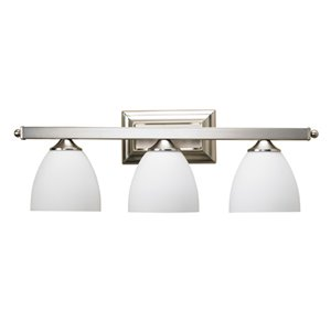 Russell Lighting Vanity 3-Light Wall Sconce - Brushed Chrome - 9-in x 24-in