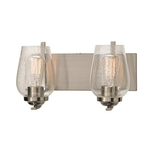 Russell Lighting Bordeaux Vanity 2-Light Wall Sconce - Brushed Chrome - 8-in x 15-in