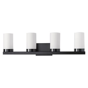 Russell Lighting Vanity 4-Light Wall Sconce - Black - 8-in x 30-in