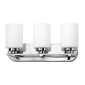 Russell Lighting Vanity 3-Light Wall Sconce - Polished Chrome - 9-in x 24-in