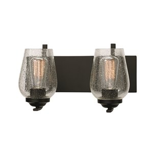 Russell Lighting Bordeaux Vanity 2-Light Wall Sconce - Black - 15-in x 8-in