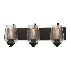 Russell Lighting Bordeaux Vanity 3-Light Wall Sconce - Black - 22-in x 8-in