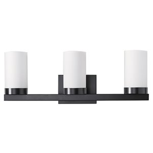 Russell Lighting Vanity 3-Light Wall Sconce - Black - 8-in x 23-in