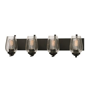 Russell Lighting Bordeaux Vanity 4-Light Wall Sconce - Black - 31-in x 8-in