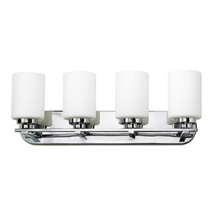 Russell Lighting Vanity 4-Light Wall Sconce - Brushed Chrome - 9-in x 30-in